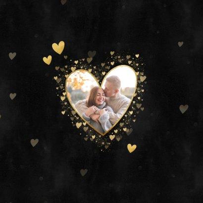 Liefdevolle kerstkaart met foto, gouden hartjes en spetters 2