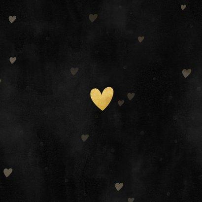 Liefdevolle kerstkaart met foto, gouden hartjes en spetters Achterkant