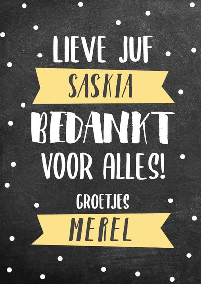 Lieve bedankkaart Juf met krijtbord, typografie en banners 2