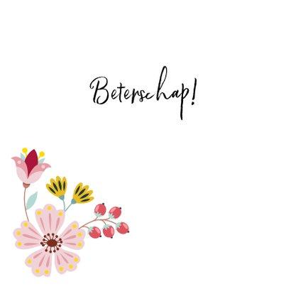 Lieve beterschapskaart met vlinder en bloemen 2