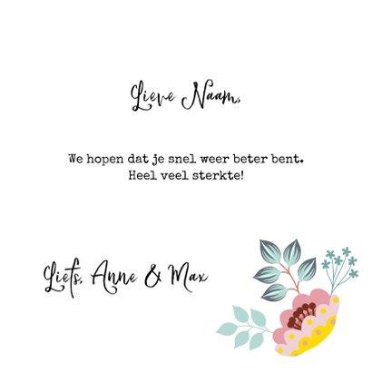 Lieve beterschapskaart met vlinder en bloemen 3