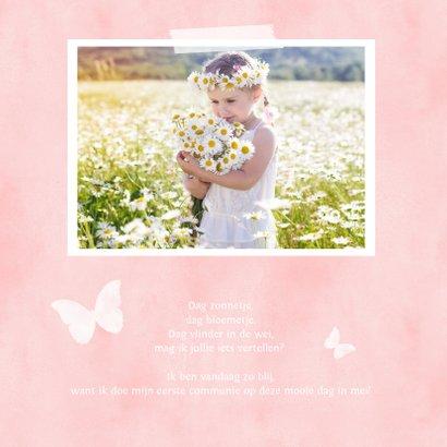 Lieve communiekaart met een roze silhouet van een vlinder 2