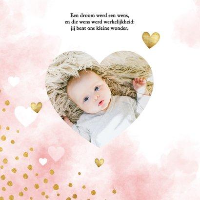 Lieve doopkaart met waterverf, witte en gouden hartjes 2
