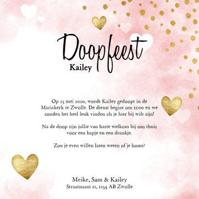Lieve doopkaart met waterverf, witte en gouden hartjes 3