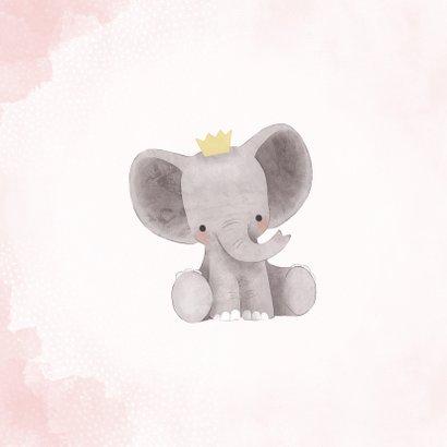 Lieve felicitatiekaart met olifantje, waterverf en stipjes 2