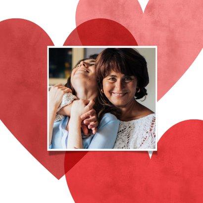 Lieve fotokaart voor moederdag met rode en roze hartjes 2