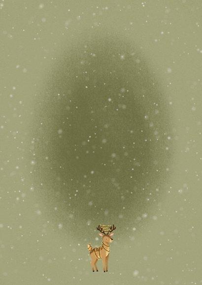 Lieve kerstkaart lichtpuntjes met hert en kerstlampjes Achterkant