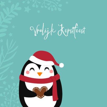 Lieve kerstkaart met pinguin en hartje 2