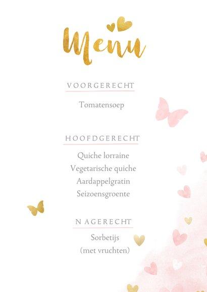 Lieve menukaart met  vlinders en hartjes - communie menu 3