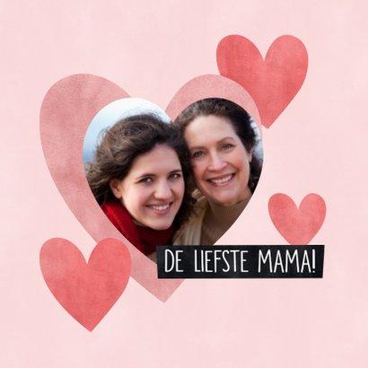 Lieve moederdag kaart Knuffel voor de liefste mama hartjes 2