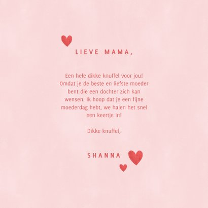 Lieve moederdag kaart Knuffel voor de liefste mama hartjes 3