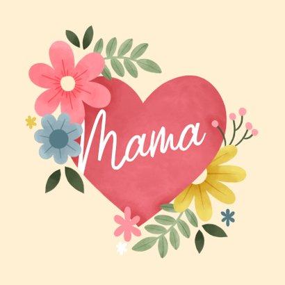 Lieve moederdag kaart met bloemen, hart en foto 2