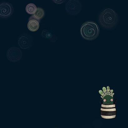 Lieve nieuwjaarskaart cactus met diadeem happy new year! Achterkant