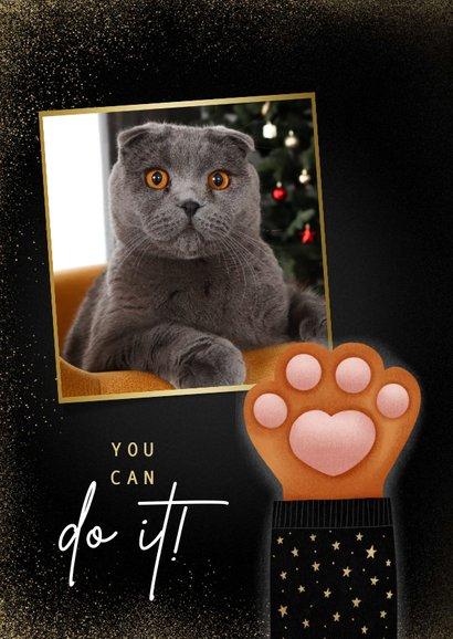 Lieve nieuwjaarskaart Stay Pawsitive met kattenpootje 2