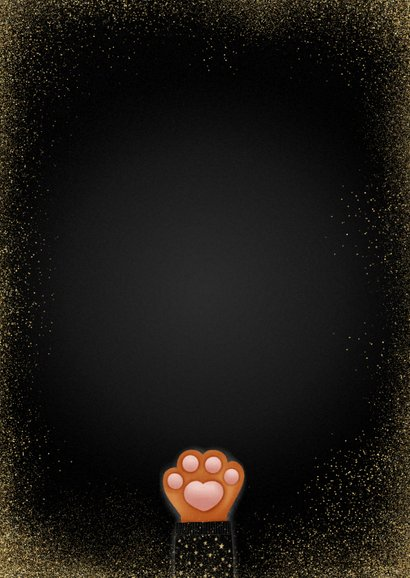 Lieve nieuwjaarskaart Stay Pawsitive met kattenpootje Achterkant
