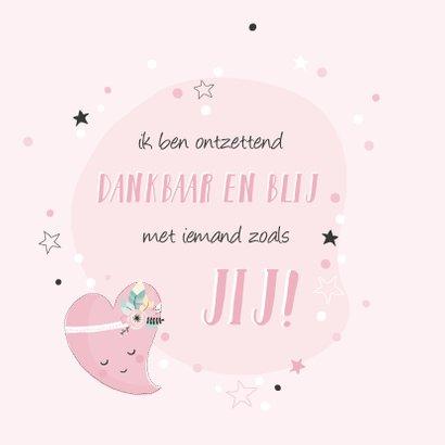 Lieve roze kaart met getekend hart voor een vriendin 2