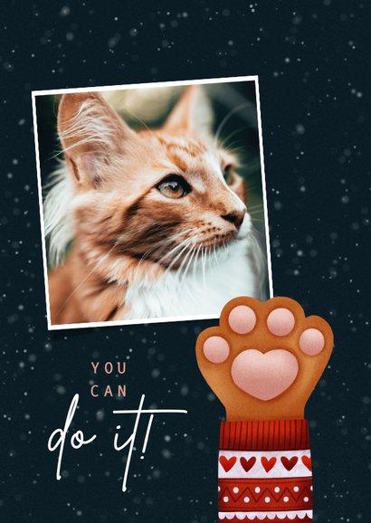 Lieve Stay Pawsitive kerstkaart kattenpootje & kersttrui 2