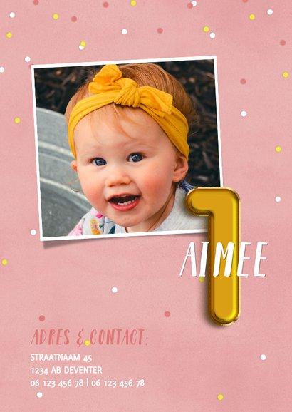 Lieve uitnodiging eerste verjaardag met confetti & ballonnen 2