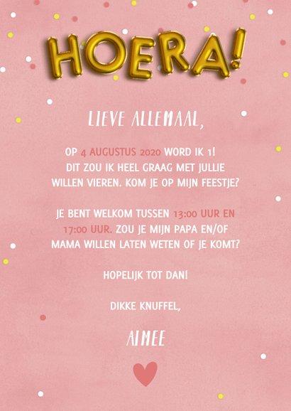 Lieve uitnodiging eerste verjaardag met confetti & ballonnen 3