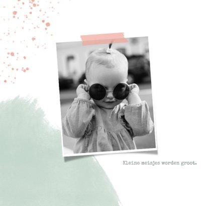 Lieve uitnodiging kinderfeestje 1 jaar flamingo en waterverf 2