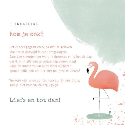 Lieve uitnodiging kinderfeestje 1 jaar flamingo en waterverf 3
