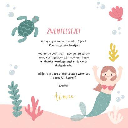 Lieve uitnodiging kinderfeestje zeemeermin, schildpad & foto 3