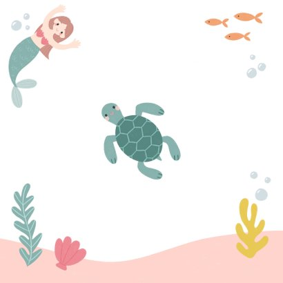 Lieve uitnodiging kinderfeestje zeemeermin, schildpad & foto Achterkant