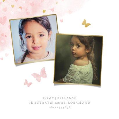 Lieve uitnodiging voor een meisjes communie vlinders hartje 2