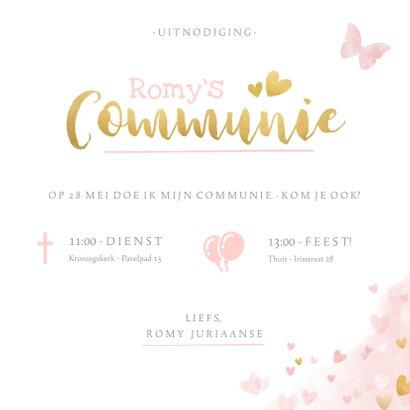 Lieve uitnodiging voor een meisjes communie vlinders hartje 3
