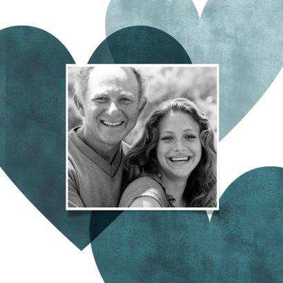 Lieve vaderdagkaart blauwe hartjes, foto en I love you! 2