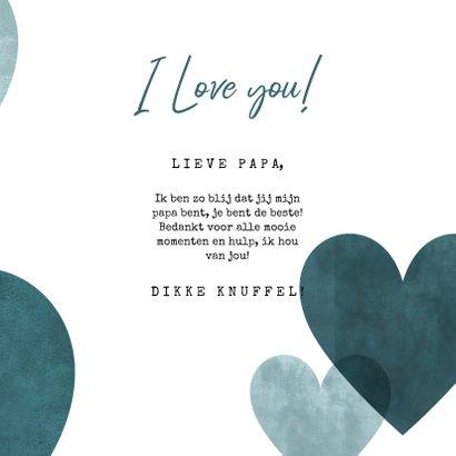 Lieve vaderdagkaart blauwe hartjes, foto en I love you! 3