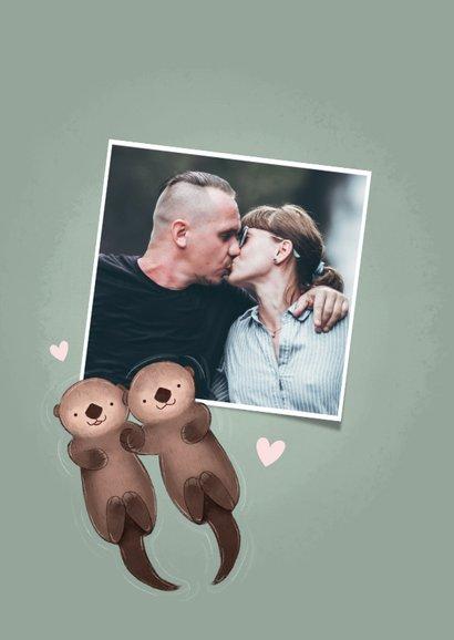 Lieve valentijnskaart illustratie otters en grappige tekst 2