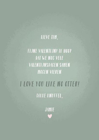 Lieve valentijnskaart illustratie otters en grappige tekst 3