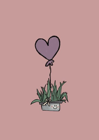 Lieve Valentijnskaart met cactus en hartjesballonnen 2