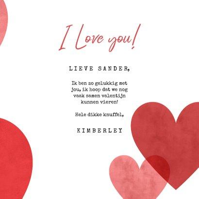 Lieve valentijnskaart met hartjes, foto en I love you! 3