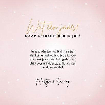 Lieve valentijnskaart met hartjes 'Wat een jaar!' 3