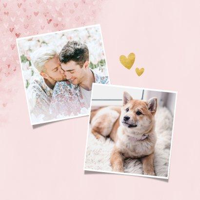 Lieve valentijnskaart met waterverf hartjes, foto & love you 2