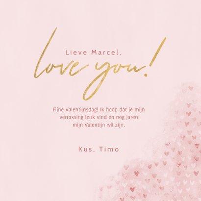 Lieve valentijnskaart met waterverf hartjes, foto & love you 3