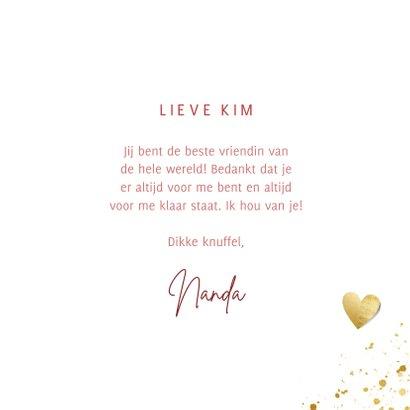 Lieve valentijnskaart voor liefste vriendin met gouden hart 3
