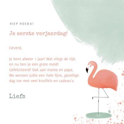Lieve verjaardagskaart roze en mint flamingo waterverf 3