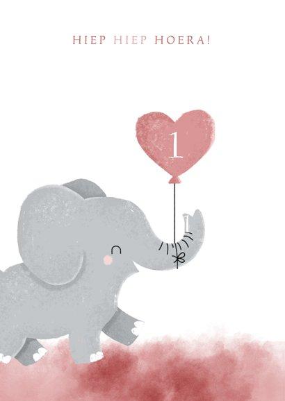 Lieve verjaardagskaart voor tweeling meisjes met olifantje 2