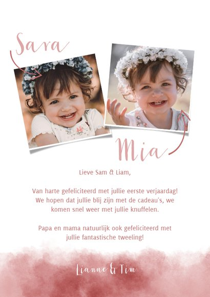 Lieve verjaardagskaart voor tweeling meisjes met olifantje 3