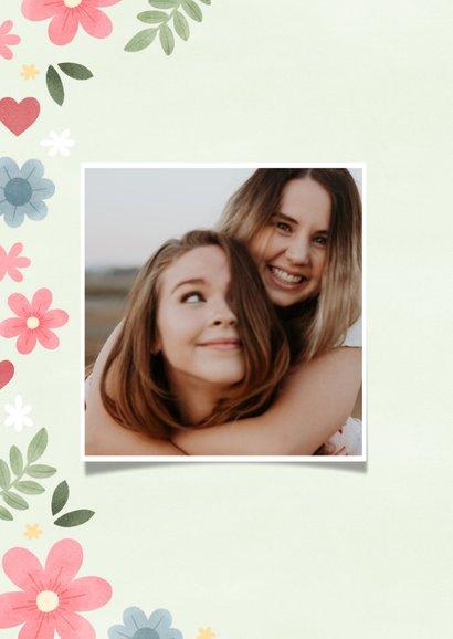 Lieve zomaar kaart knuffel met foto, bloemen en hartjes 2