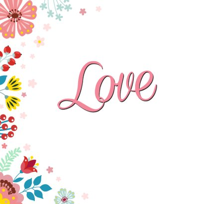 Love valentijnskaart met bloemen en planten 2