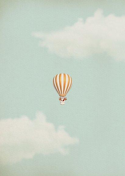 Luchtballon in wit met goud met kerstman en rendiertjes 2