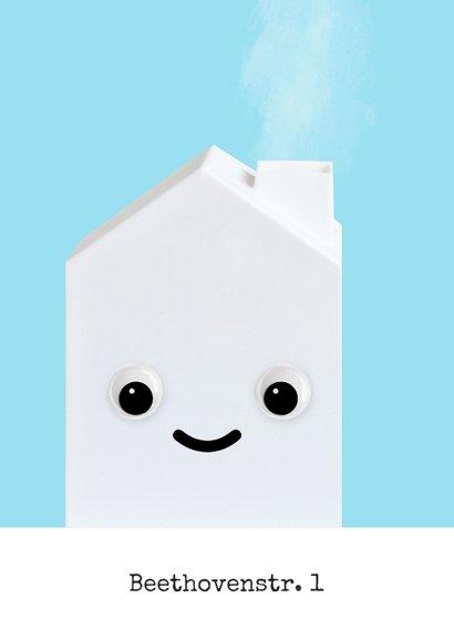 Lustige Umzugskarte weißes Haus mit Augen 2