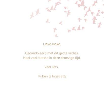 Luxe condoleance kaart vogels roze 3