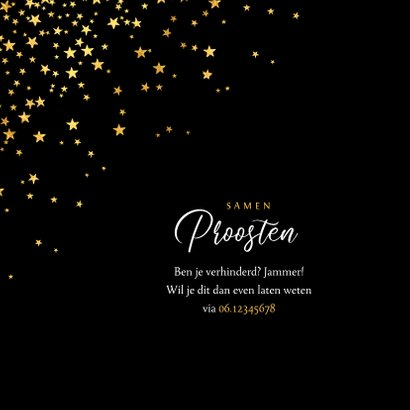 luxe uitnodiging kerstdiner sterren goud confetti 2