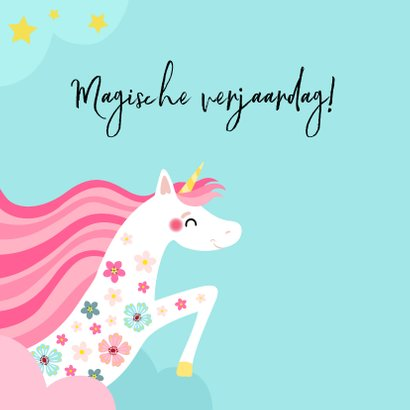 Magische unicorn verjaardagskaart 2