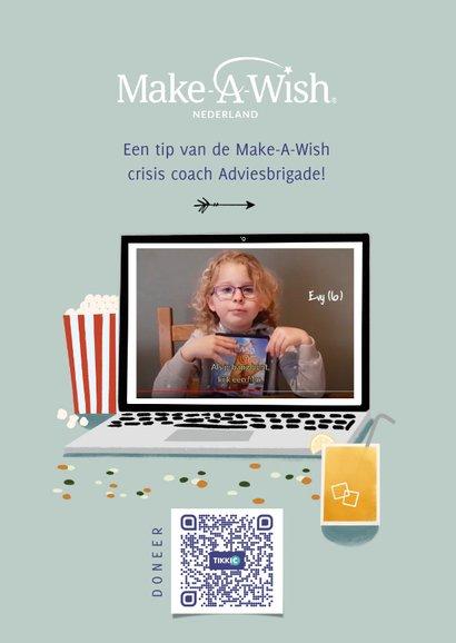 Make-A-Wish isolatie tip kijk een film met laptop blauw 2